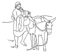 good samaritan put injured traveller donkey coloring