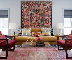 modern bohemian with living living room transitional and