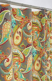 Colorful Patterned Curtains Cynthia Rowley Paisley Fabric Shower Curtain Burnt Orange Tan Blue