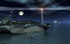 lighthouses lighthouse bay ocean sky dolphins clouds moon night
