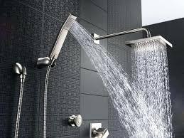 Moen Eco Performance Shower Head Rain Shower Head Brushed Nickel Grey Tile Wall For Modern Bathroom