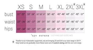 size chart u0026 fit guide u2013 uye surana