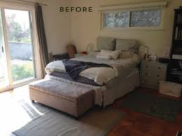 before and after bedroom makeover with moss and coral accents