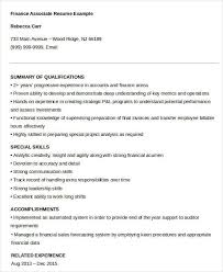 sample financial associate resume project finance associate