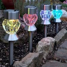 solar dual function glass stake lights