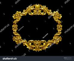 golden frame baroque ornaments pictures mirror stock illustration
