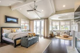 master bedroom sitting area bedroom beach style with walnut floors
