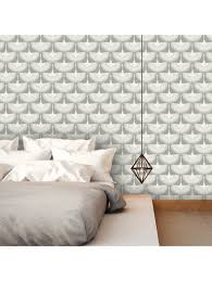 feathered removable wallpaper white