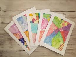 painting greeting cards in watercolor watercolor abstracts original greeting cards paintings set of