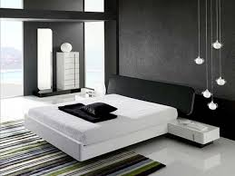 minimalist modern bedroom for men with black wallpaper part of