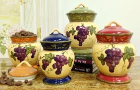tuscan kitchen canisters sets tuscany garden collection grapes hand painted 4pc canister set