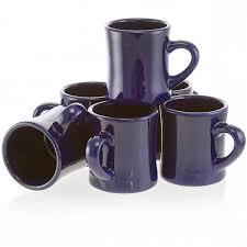 diner coffee mug set of 6 blue vintage ceramic coffee cups