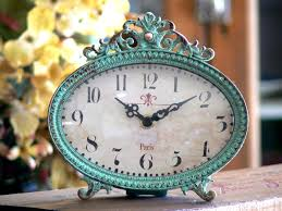 Shabby Chic Vintage Home Decor Aqua Table Clock Paris Shabby French Vintage Mantle Chic Decor