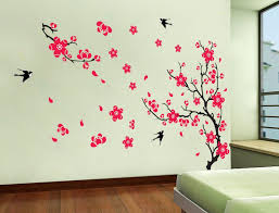 best images about wall decals pinterest diy wall stickers decor yyone plum blossom red flowers tree branch swallows art mural home