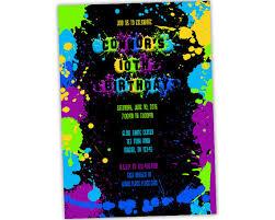 neon paint birthday invitations paint splatter invites