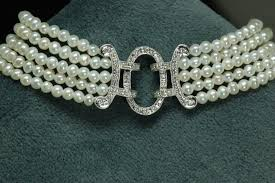 bracelet diamond pearl images Antique style 5 strand pearl and diamond bracelet diamond JPG