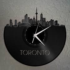 unique home decor canada toronto skyline canada cityscape clock canadian gift for him