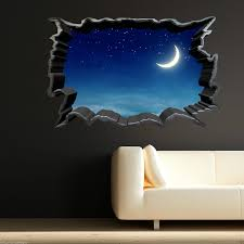 Wall Art Stickers And Decals by Full Colour Moon Night Sky Stars Wall Art Sticker Decal Transfer
