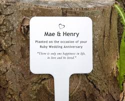 garden plaques personalised anniversary tree or garden plaque by keepstakes