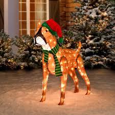 lighted dog christmas lawn ornament pre lit tinsel dog christmas decoration boxer improvements