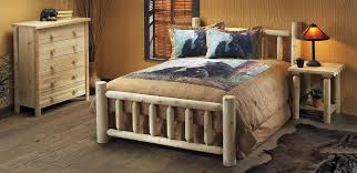 Western Bed Frames Rustic Western Bedroom Furniture Log Side Bed Table Plus White