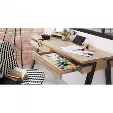 bureau en bois bureau design bois et métal 125x60 2 tiroirs spike by drawer