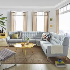 7 Seat Sectional Sofa by Niels Danish Modern Tufted Fabric 7 Seat L Shaped Sectional By Mid