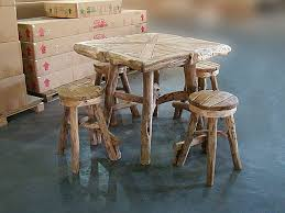 square pub table with storage tiki teak root square bar table set with 4 backless stools