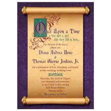 fairytale wedding invitations fairytale wedding invitation scroll once upon a time