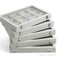 necklace earring display box images Ice gray velvet jewelry tray glass lid jewelry boxes ring tray jpg