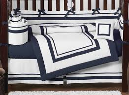 Navy Blue And White Crib Bedding Set White And Navy Modern Hotel Baby Bedding 9pc Crib Set By Sweet