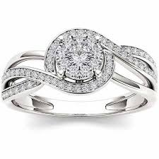 engagement ring walmart imperial 1 4 carat t w cluster 10kt white gold engagement