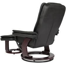 leather swivel recliner w wooden base ottoman black u2013 best