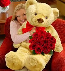 big teddy valentines day filgiftshop 12 roses with big teddy filgiftshop