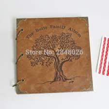leather photo albums engraved 50 pages tree family personalized monogrammed engraved leather