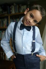 boys light blue dress pants suspenderes and pants would be navy blue and he d have a white