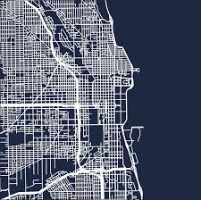 Chicago Neighborhood Map Poster by Minimalist Map Of Chicago Roads Digital Download High