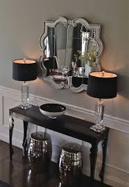 entrance table and mirror our home decorating foyers and stools