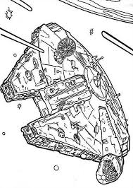 millenium falcon flying space star wars coloring