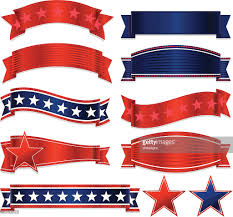 white blue ribbon patriotic ribbons stickers and set white blue vector