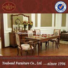 0051 antique luxury classic dining room sets wood table furniture