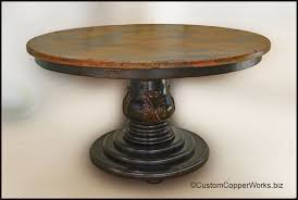 round dining table copper top dining table wood pedestal table