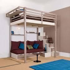 lit mezzanine avec canapé convertible fixé lit mezzanine adulte avec banquette et escalier rangement