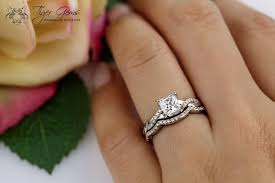 engagement and wedding rings 1 ctw princess infinity ring swirl bridal set half eternity