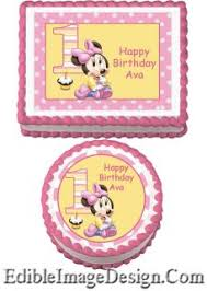 baby minnie birthday edible party cake image cupcake topper