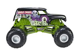rc monster truck grave digger amazon com wheels monster jam giant grave digger truck toys