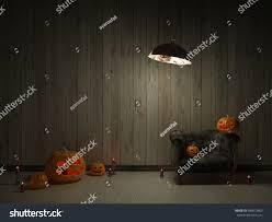 3d halloween background halloween pumpkins old dark room rustic stock illustration