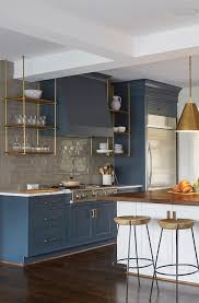 Wood Kitchen Shelves by Wood And Brass Kitchen Shelves Suspended From The Ceiling