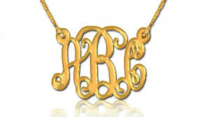 Gold Plated Monogram Necklace 18k Gold Plated Monogram Necklace