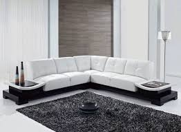 Living Rooms  Living Room With L Shaped White Minimalist Sofa And - Minimalist sofa design